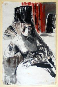 """Abb.1 Hanna Nagel,""""Die Spanierin"""", Tusche und Wasserfarbe auf Büttenpapier"""