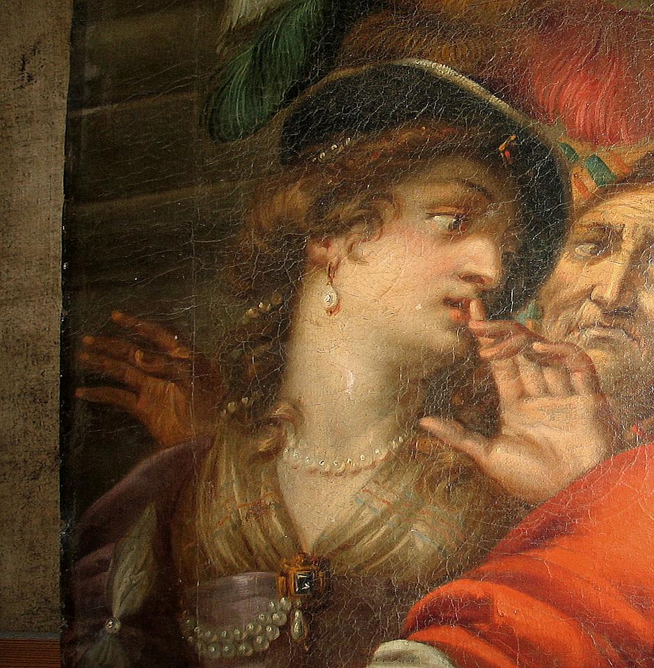Abb. 2: Deutlich geringere Craquelébildung im linken Randbereich durch rückseitigen Rahmenschenkel. Gemälde des 17. Jhd. (Foto: M. Pracher)