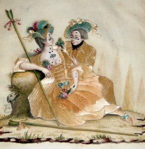 Abb. 4 Galante Szene, Aquarellfarbe mit Bleiweißhöhung und Seidenstickerei auf holzfreiem Papier, Ende 18. Jh. (alle Abbildungen Martin Pracher)