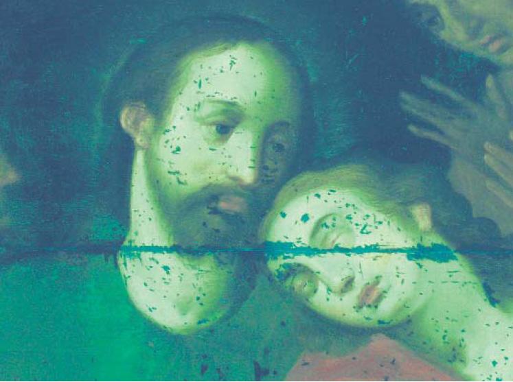 Abb. 4 Unbekannter Meister, Christus und Johannes einer Abendmahldarstellung (Detail), Öl/Holz, Deutschland, frühes 17. Jh., 72,5 x 104 cm, Privatbesitz. UV-Fluoreszenzfotografie mit Filter (Kodak Wratten Nr. 8). Durch den verwendeten Filter wird die Fluoreszenz aufgenommen.